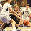 12-2-16<br /> Northwestern vs Western boys basketball<br /> Western's Cooper O'Neal and Northwestern's Jay Pike go after a loose ball.<br /> Kelly Lafferty Gerber | Kokomo Tribune