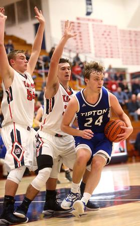 12-16-16<br /> Cass vs Tipton boys basketball<br /> Tipton's Carson Dolezal looks to get around Cass defense.<br /> Kelly Lafferty Gerber | Kokomo Tribune