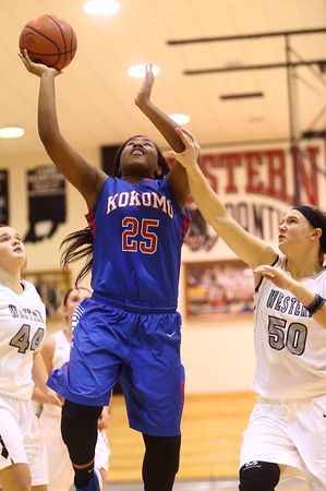 12-6-16<br /> Kokomo vs Western girls basketball<br /> Aubrion Woodard shoots.<br /> Kelly Lafferty Gerber | Kokomo Tribune