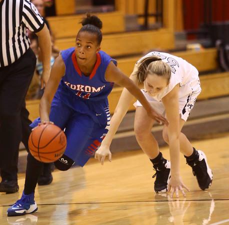 12-6-16<br /> Kokomo vs Western girls basketball<br /> Kokomo's Tionna Brown steals the ball.<br /> Kelly Lafferty Gerber | Kokomo Tribune