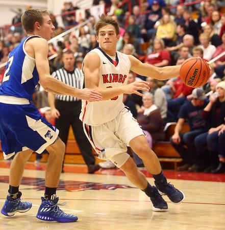12-16-16<br /> Cass vs Tipton boys basketball<br /> Cass' Alec Eurit dribbles to the basket.<br /> Kelly Lafferty Gerber | Kokomo Tribune