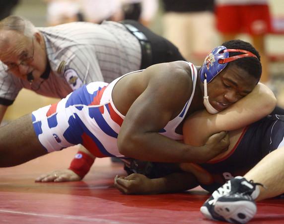 12-13-16<br /> Kokomo vs Logansport wrestling<br /> Kokomo's DaShaun Barbary defeats Logansport's Brayden Guire in the 182.<br /> Kelly Lafferty Gerber | Kokomo Tribune