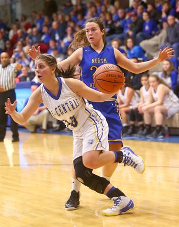 2-13-16<br /> Tri Central regional against North Vermillion<br /> Tri Central's Kinsey Leininger lunges forward to the basket.<br /> Kelly Lafferty Gerber | Kokomo Tribune
