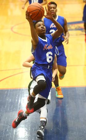 2-17-16<br /> Kokomo blue vs Eastern 8th grade basketball<br /> Kokomo Blue's Tevin Whiteside<br /> Kelly Lafferty Gerber | Kokomo Tribune