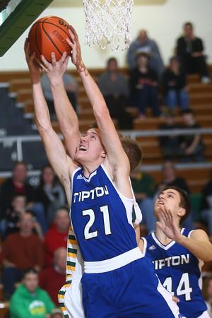 2-9-16 Eastern vs Tipton boys basketball <br /> Tipton's Tyler Slack goes after a rebound.<br /> Kelly Lafferty Gerber | Kokomo Tribune