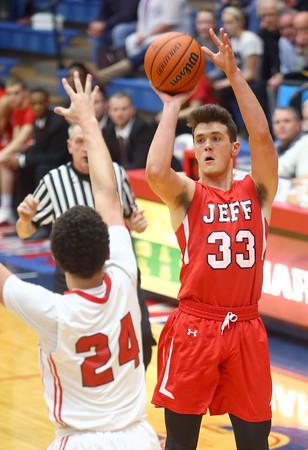 2-19-16<br /> Lafayette Jeff vs Richmond<br /> Lafayette Jeff's Keaton Schreckengast puts up a shot in the first quarter.<br /> Kelly Lafferty Gerber | Kokomo Tribune
