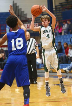 2-17-16<br /> Kokomo blue vs Eastern 8th grade basketball<br /> Eastern's  Matthew Arcari<br /> Kelly Lafferty Gerber | Kokomo Tribune
