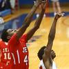 2-19-16<br /> Lafayette Jeff vs Richmond<br /> Lafayette Jeff's James Burns grabs a rebound.<br /> Kelly Lafferty Gerber | Kokomo Tribune
