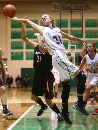 2-6-16 Tri Central girls basketball sectional win <br /> Tri Central's Emily Richard goes after a rebound.<br /> Kelly Lafferty Gerber | Kokomo Tribune