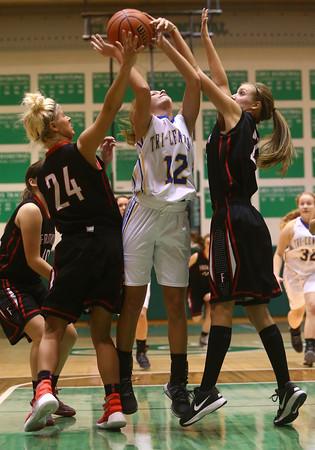 2-6-16 Tri Central girls basketball sectional win <br /> Tri Central's Haley Farris<br /> Kelly Lafferty Gerber   Kokomo Tribune