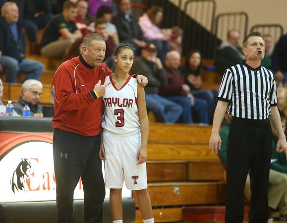 2-2-16 Taylor vs Eastern girls sectional basketball<br /> Coach Bentzler talks to Asia Stabler during the game.<br /> Kelly Lafferty Gerber | Kokomo Tribune