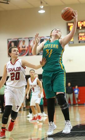 2-2-16 Taylor vs Eastern girls sectional basketball <br /> Eastern's Hailey Holliday grabs a pass.<br /> Kelly Lafferty Gerber | Kokomo Tribune