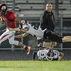 Jaylen McNair keeps the ball for a run as Luray's Charles Atwood makes a dive.