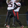 Prophecy Kismore and Jaylen McNair celebrate in the endzone after at touchdown by McNair