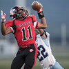 Javon Butler makes a one handed catch for East Rock's second touchdown in the first quarter