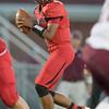 Jaylen McNair looks down field for an open receiver
