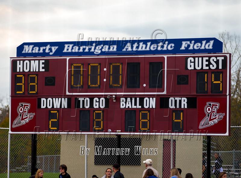 NYSPHSAA Section 4, Class AA Semi-final, Varsity Football.  Horseheads Blue Raiders at Elmira Express. October 29, 2016.