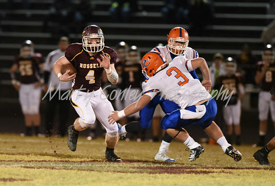 Russell's Nick Conley runs for positive yards on Friday evening against Pike County Central.  MARTY CONLEY/ FOR THE DAILY INDEPENDENT