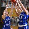 1-14-16<br /> Carroll County vs Western girls basketball<br /> Carroll's Rebekah Conn and Megan Herr go after a rebound.<br /> Kelly Lafferty Gerber | Kokomo Tribune