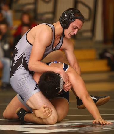 1-20-16<br /> WHS wrestling<br /> Western's Matt Scott and Central Catholic's Felipe Viera in the 170.<br /> Kelly Lafferty Gerber   Kokomo Tribune