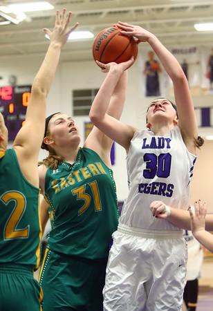 1-5-16<br /> Northwestern vs Eastern girls basketball<br /> Eastern's Hailey Holliday and Northwestern's Stephanie Burns<br /> Kelly Lafferty Gerber   Kokomo Tribune