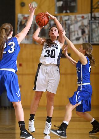 1-14-16<br /> Carroll County vs Western girls basketball<br /> Western's Clair Lechner<br /> Kelly Lafferty Gerber   Kokomo Tribune