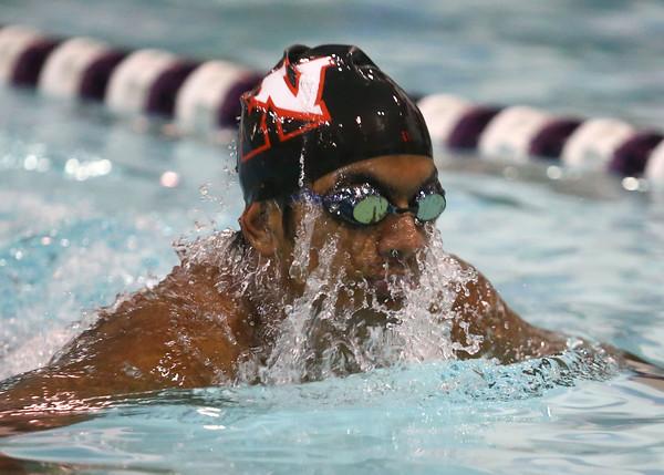 1-26-16 NWHS vs WHS swim meet<br /> Western's Reggie Manuel in the 200 Y IM<br /> Kelly Lafferty Gerber   Kokomo Tribune