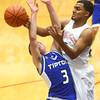 1-23-16<br /> Kokomo vs Tipton boys basketball<br /> Jordan Matthews blocks Tipton's Mason Degenkolb's shot.<br /> Kelly Lafferty Gerber | Kokomo Tribune