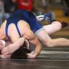 1-20-16<br /> WHS wrestling<br /> Western's Jacob Allen and Central Catholic's Jordan Turpin in the 138.<br /> Kelly Lafferty Gerber | Kokomo Tribune