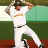 7-30-16<br /> Jackrabbits vs Cavemen<br /> Ryan Hutchinson at second base after hitting a double.<br /> Kelly Lafferty Gerber | Kokomo Tribune