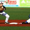 3-29-16<br /> Kokomo vs Huntington North baseball<br /> Kokomo's DaShaun Barbary reaches second base in time before Huntington North's Patrick Miller catches the ball.<br /> Kelly Lafferty Gerber | Kokomo Tribune