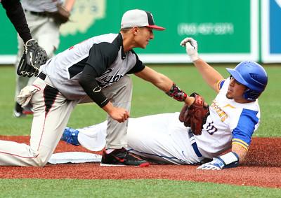 5-7-16 Taylor vs Tri Central baseball Taylor's Cole Braun gets Tri Central's Colten Leininger out at second. Kelly Lafferty Gerber | Kokomo Tribune