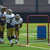 HALEY WARD | THE GOSHEN NEWS<br /> Wide receiver Chris Kinke catches the ball during Notre Dame football practice Wednesday.