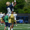HALEY WARD | THE GOSHEN NEWS<br /> Safety Max Redfield attempts to catch the ball while running drills during Notre Dame football practice Wednesday.