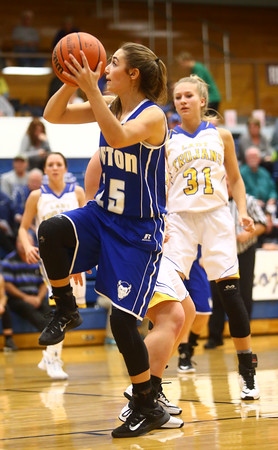 11-10-16<br /> Tri Central vs Tipton girls basketball<br /> Tipton's Rachael Ressler puts up a shot.<br /> Kelly Lafferty Gerber | Kokomo Tribune