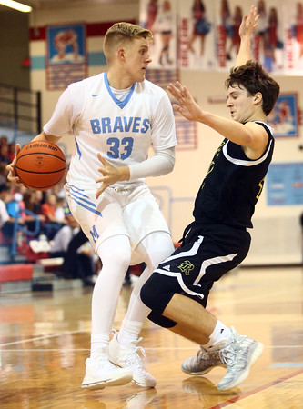 11-29-16<br /> Maconaquah boys basketball<br /> Wyatt Hughes looks to get around Rochester defense.<br /> Kelly Lafferty Gerber   Kokomo Tribune