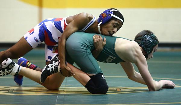 11-30-16<br /> Eastern vs Kokomo wrestling<br /> Eastern's Cory Hendricks and Kokomo's Nigel Lenoir<br /> Kelly Lafferty Gerber   Kokomo Tribune