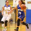 11-10-16<br /> Tri Central vs Tipton girls basketball<br /> Tipton's Bailey Caylor dribbles down the court.<br /> Kelly Lafferty Gerber | Kokomo Tribune
