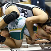 11-19-16<br /> Western wrestling<br /> Western's Kevin Lenahan in the 170 against BC's Johnny Kuckartz.<br /> Kelly Lafferty Gerber | Kokomo Tribune