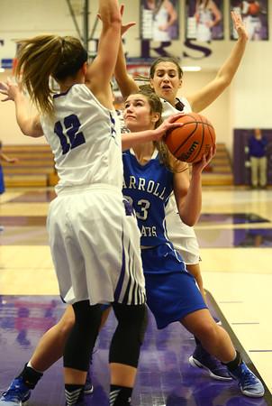 11-12-16<br /> Northwestern vs Carroll girls basketball<br /> Carroll's Megan Herr tries to get around Northwestern's defense.<br /> Kelly Lafferty Gerber | Kokomo Tribune