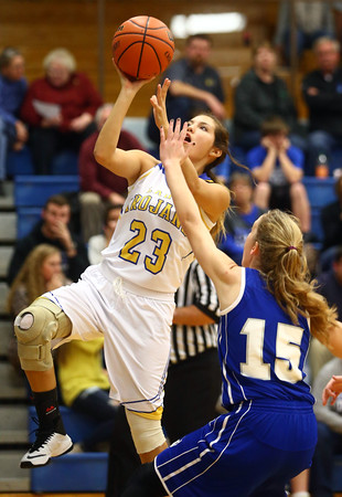 11-10-16<br /> Tri Central vs Tipton girls basketball<br /> Tri Central's Sarah Quesada puts up a shot.<br /> Kelly Lafferty Gerber | Kokomo Tribune