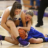 11-12-16<br /> Northwestern vs Carroll girls basketball<br /> Northwestern's Sophia Beachy and Carroll's Sidney Fisher go after a loose ball.<br /> Kelly Lafferty Gerber | Kokomo Tribune