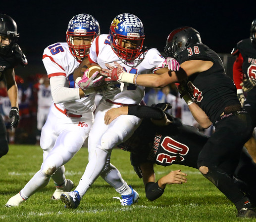 10-28-16<br /> Kokomo vs Huntington North football<br /> Keenen Wheeler runs through Huntington North's defense.<br /> Kelly Lafferty Gerber | Kokomo Tribune