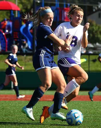10-8-16<br /> Northwestern vs Lafayette Central Catholic girls soccer sectional<br /> LCC's Lindsey Kiracofe and Northwestern's Cate Hale battle over ball control.<br /> Kelly Lafferty Gerber   Kokomo Tribune