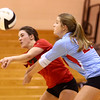 10-18-16<br /> Maconaquah vs Benton Central volleyball<br /> Shelby Spence and Emily Bowyer go after the ball.<br /> Kelly Lafferty Gerber | Kokomo Tribune