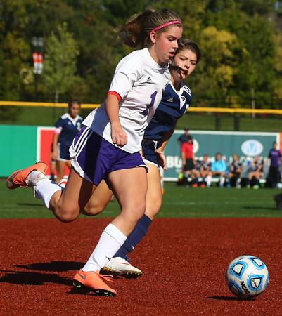 10-8-16<br /> Northwestern vs Lafayette Central Catholic girls soccer sectional<br /> Northwestern's Bailey Thatcher tries to beat LCC to the ball.<br /> Kelly Lafferty Gerber | Kokomo Tribune