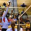 10-18-16<br /> Maconaquah vs Benton Central volleyball<br /> Julia Tidd makes a hit at the net.<br /> Kelly Lafferty Gerber | Kokomo Tribune