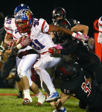 10-28-16<br /> Kokomo vs Huntington North football<br /> Keenen Wheeler tries to break through Huntington North's defense.<br /> Kelly Lafferty Gerber | Kokomo Tribune