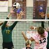 10-12-16<br /> Kokomo vs Eastern volleyball<br /> Eastern's Bailey Johnson and Isabel Kelly try to block.<br /> Kelly Lafferty Gerber | Kokomo Tribune