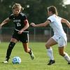 10-6-16<br /> Western vs Marion girls soccer<br /> Western's Jenna Seaman keeps the ball away from Marion.<br /> Kelly Lafferty Gerber | Kokomo Tribune